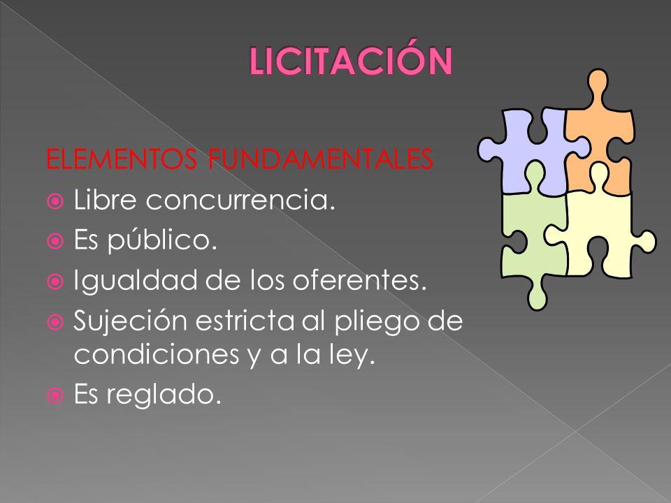 ELEMENTOS FUNDAMENTALES Libre concurrencia. Es público. Igualdad de los oferentes. Sujeción estricta al pliego de condiciones y a la ley. Es reglado.