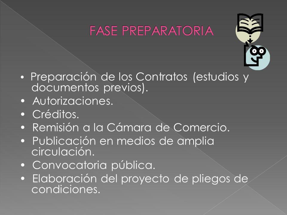 Preparación de los Contratos (estudios y documentos previos). Autorizaciones. Créditos. Remisión a la Cámara de Comercio. Publicación en medios de amp