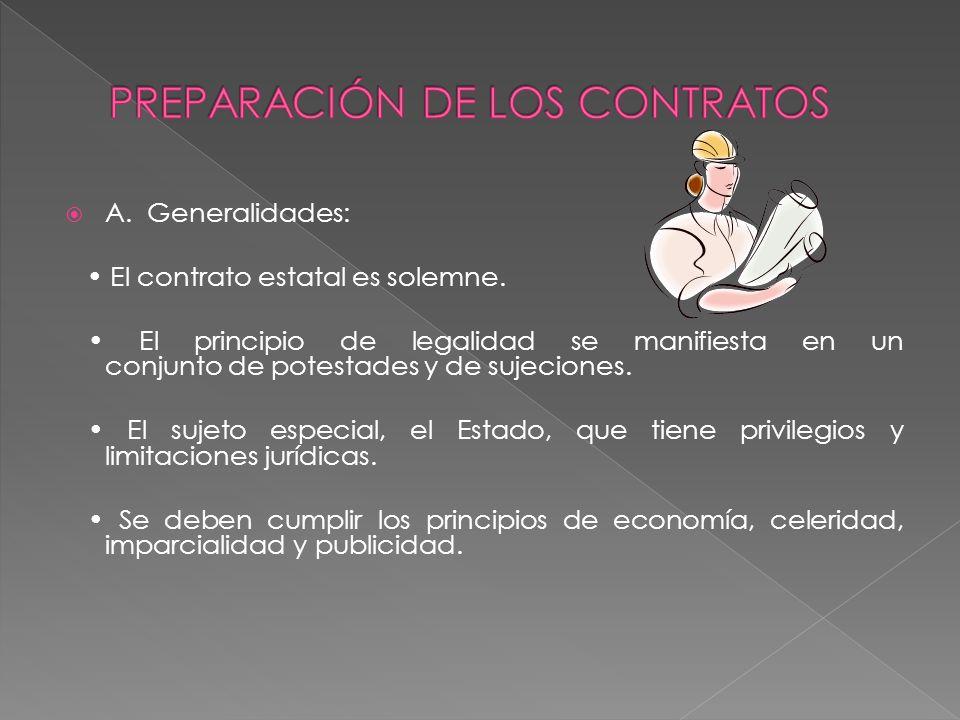 A. Generalidades: El contrato estatal es solemne. El principio de legalidad se manifiesta en un conjunto de potestades y de sujeciones. El sujeto espe