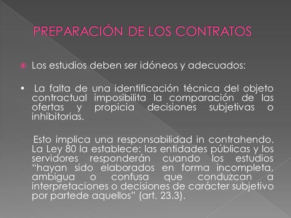Los estudios deben ser idóneos y adecuados: La falta de una identificación técnica del objeto contractual imposibilita la comparación de las ofertas y