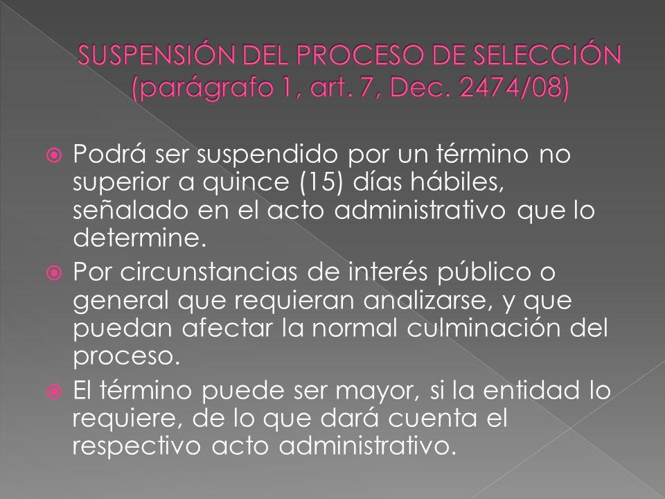 Podrá ser suspendido por un término no superior a quince (15) días hábiles, señalado en el acto administrativo que lo determine. Por circunstancias de