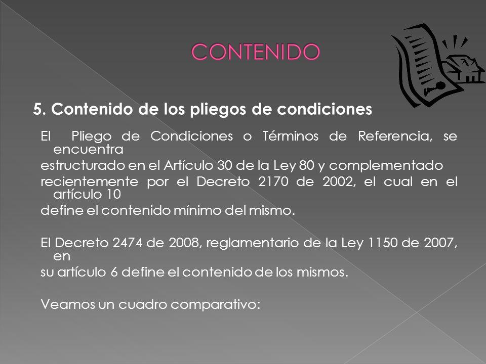 5. Contenido de los pliegos de condiciones El Pliego de Condiciones o Términos de Referencia, se encuentra estructurado en el Artículo 30 de la Ley 80