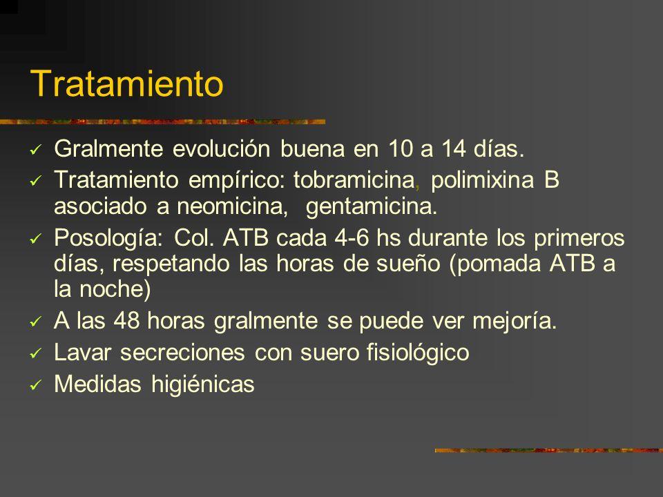 Tratamiento Gralmente evolución buena en 10 a 14 días. Tratamiento empírico: tobramicina, polimixina B asociado a neomicina, gentamicina. Posología: C