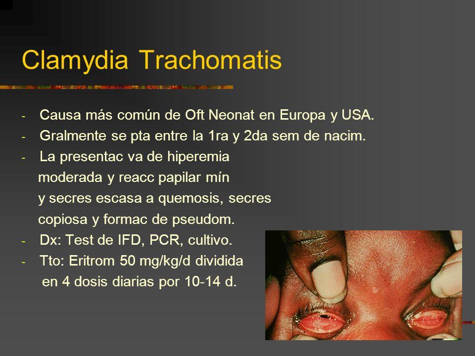 Clamydia Trachomatis - Causa más común de Oft Neonat en Europa y USA. - Gralmente se pta entre la 1ra y 2da sem de nacim. - La presentac va de hiperem