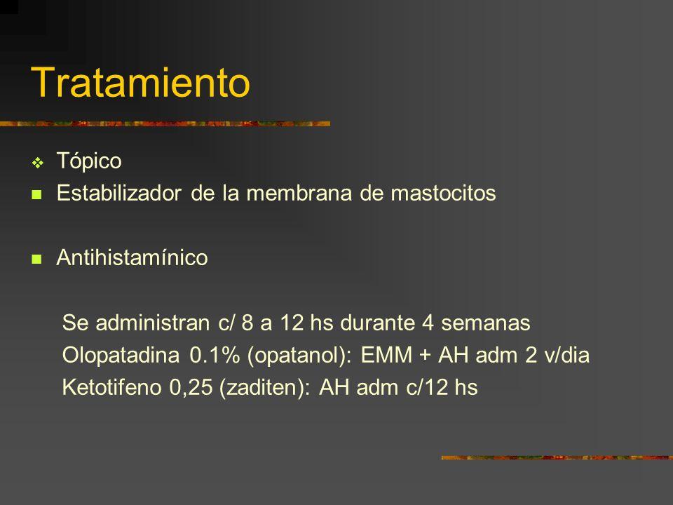 Tratamiento Tópico Estabilizador de la membrana de mastocitos Antihistamínico Se administran c/ 8 a 12 hs durante 4 semanas Olopatadina 0.1% (opatanol