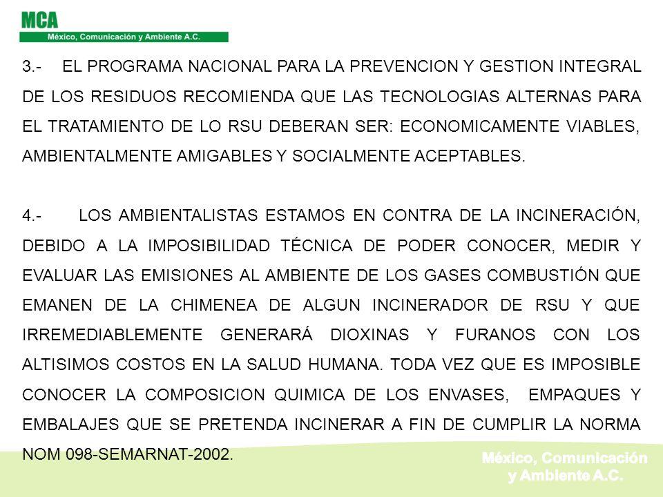 3.- EL PROGRAMA NACIONAL PARA LA PREVENCION Y GESTION INTEGRAL DE LOS RESIDUOS RECOMIENDA QUE LAS TECNOLOGIAS ALTERNAS PARA EL TRATAMIENTO DE LO RSU D