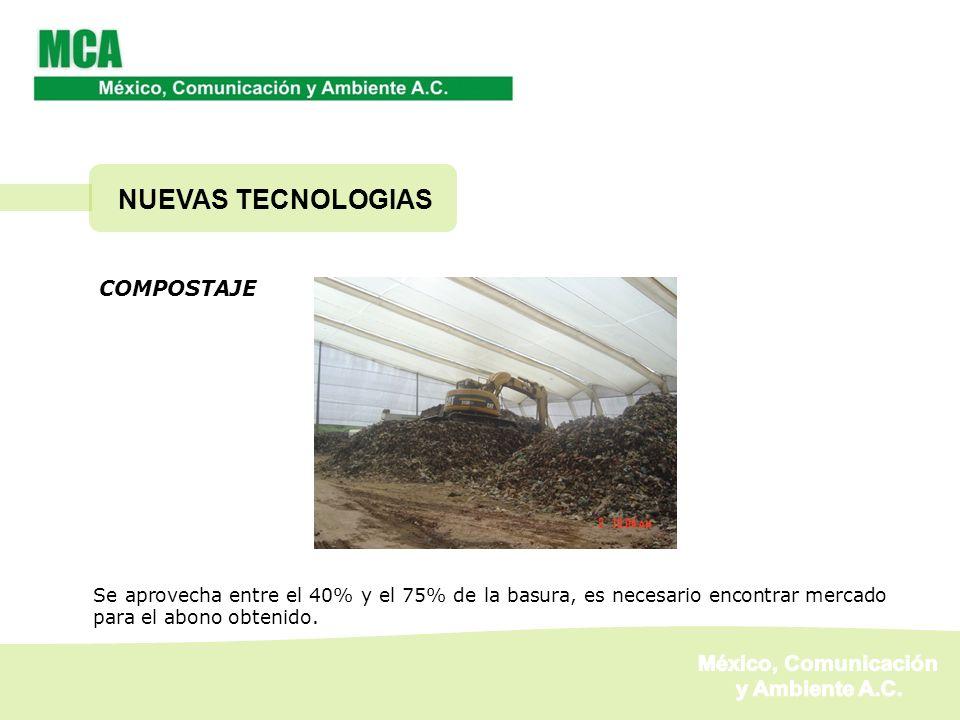 COMPOSTAJE Se aprovecha entre el 40% y el 75% de la basura, es necesario encontrar mercado para el abono obtenido. NUEVAS TECNOLOGIAS