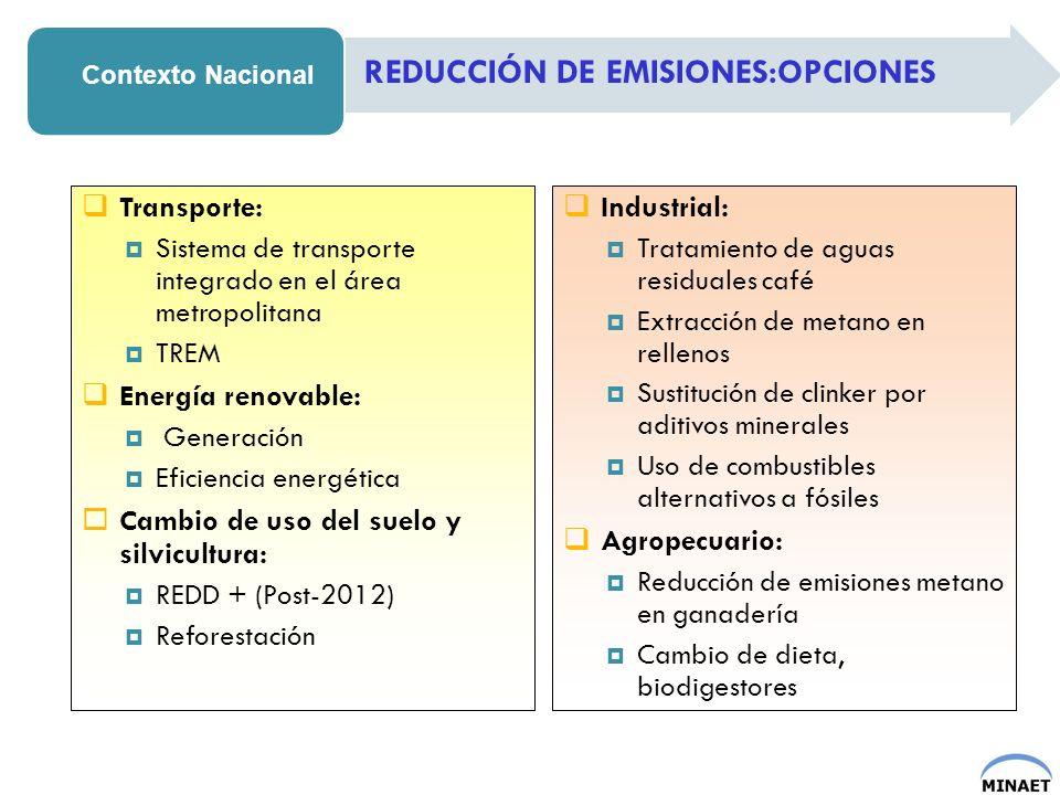 REDUCCIÓN DE EMISIONES:OPCIONES Contexto Nacional Transporte: Sistema de transporte integrado en el área metropolitana TREM Energía renovable: Generac