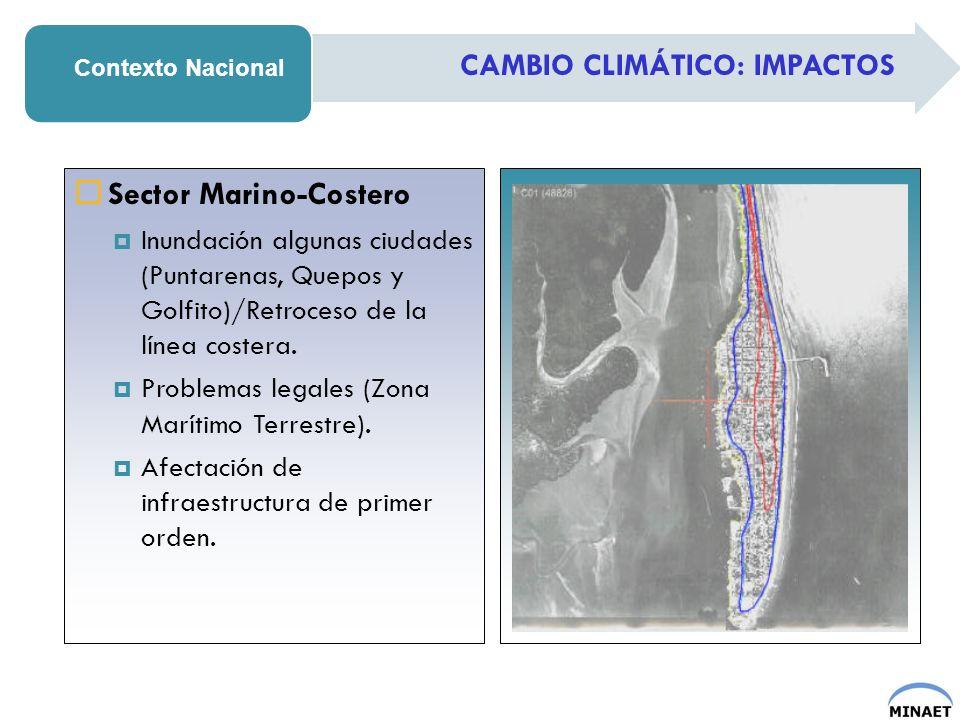 CAMBIO CLIMÁTICO: IMPACTOS Contexto Nacional Sector Marino-Costero Inundación algunas ciudades (Puntarenas, Quepos y Golfito)/Retroceso de la línea co