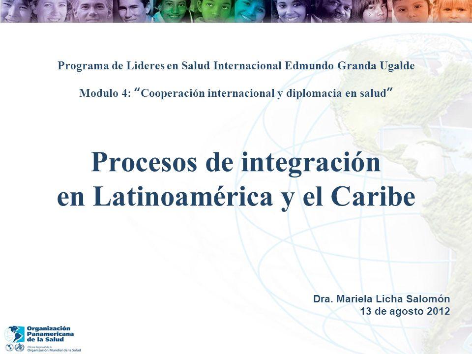 Procesos de integración en Latinoamérica y el Caribe Dra. Mariela Licha Salomón 13 de agosto 2012 Programa de Lideres en Salud Internacional Edmundo G
