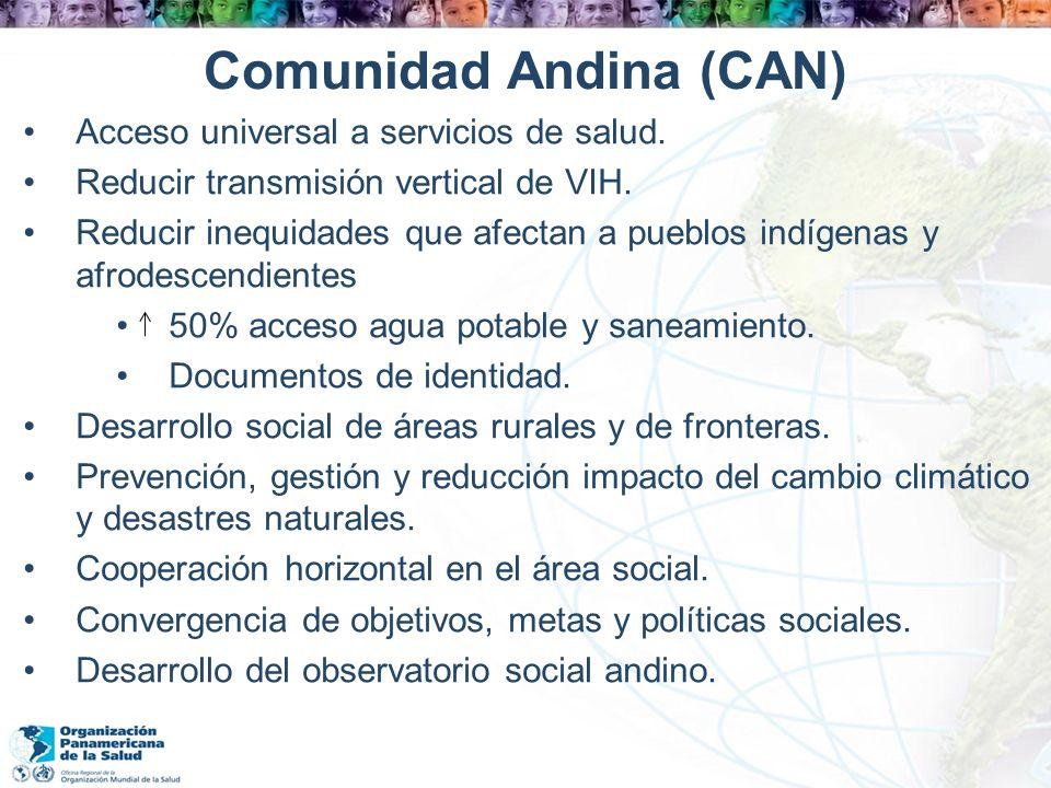 Comunidad Andina (CAN) Acceso universal a servicios de salud. Reducir transmisión vertical de VIH. Reducir inequidades que afectan a pueblos indígenas
