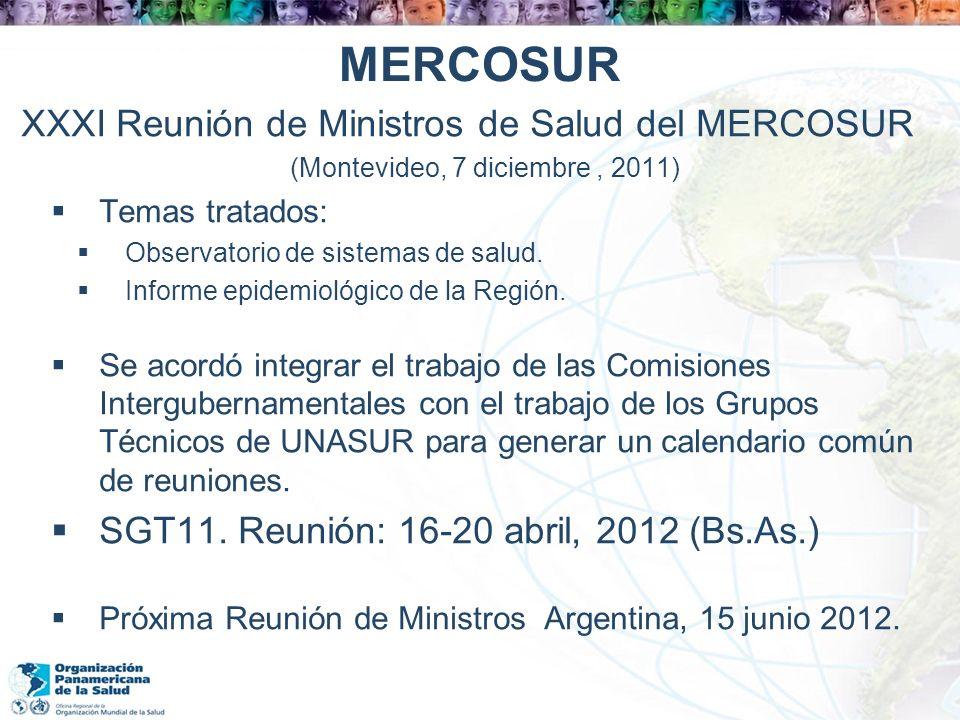 MERCOSUR XXXI Reunión de Ministros de Salud del MERCOSUR (Montevideo, 7 diciembre, 2011) Temas tratados: Observatorio de sistemas de salud. Informe ep