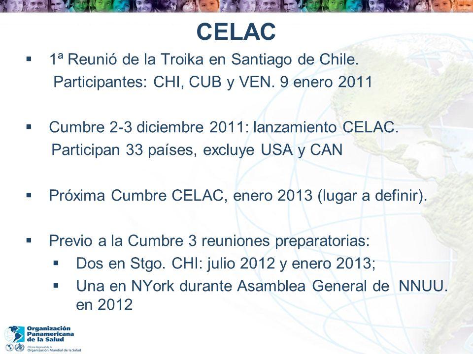 CELAC 1ª Reunió de la Troika en Santiago de Chile. Participantes: CHI, CUB y VEN. 9 enero 2011 Cumbre 2-3 diciembre 2011: lanzamiento CELAC. Participa