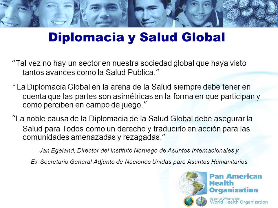 Diplomacia y Salud Global Tal vez no hay un sector en nuestra sociedad global que haya visto tantos avances como la Salud Publica. La Diplomacia Globa