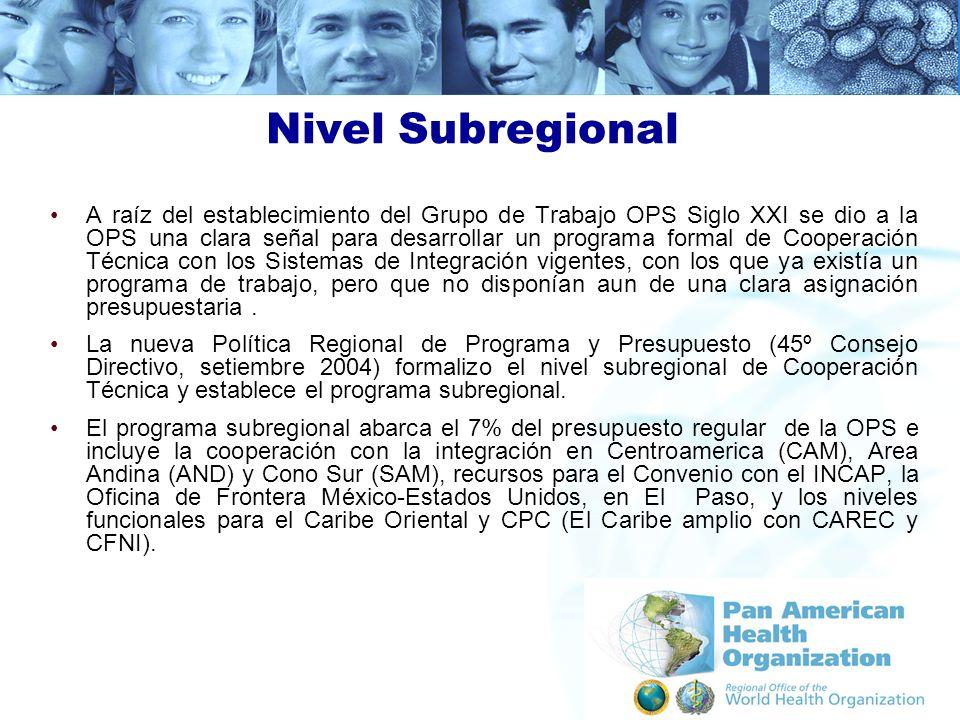 Nivel Subregional A raíz del establecimiento del Grupo de Trabajo OPS Siglo XXI se dio a la OPS una clara señal para desarrollar un programa formal de