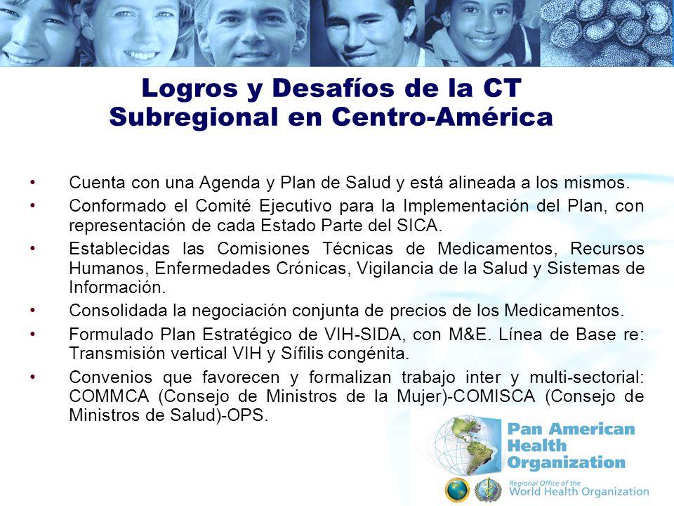 Logros y Desafíos de la CT Subregional en Centro-América Cuenta con una Agenda y Plan de Salud y está alineada a los mismos. Conformado el Comité Ejec