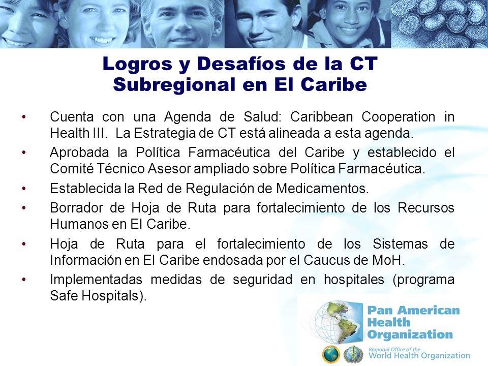 Logros y Desafíos de la CT Subregional en El Caribe Cuenta con una Agenda de Salud: Caribbean Cooperation in Health III. La Estrategia de CT está alin