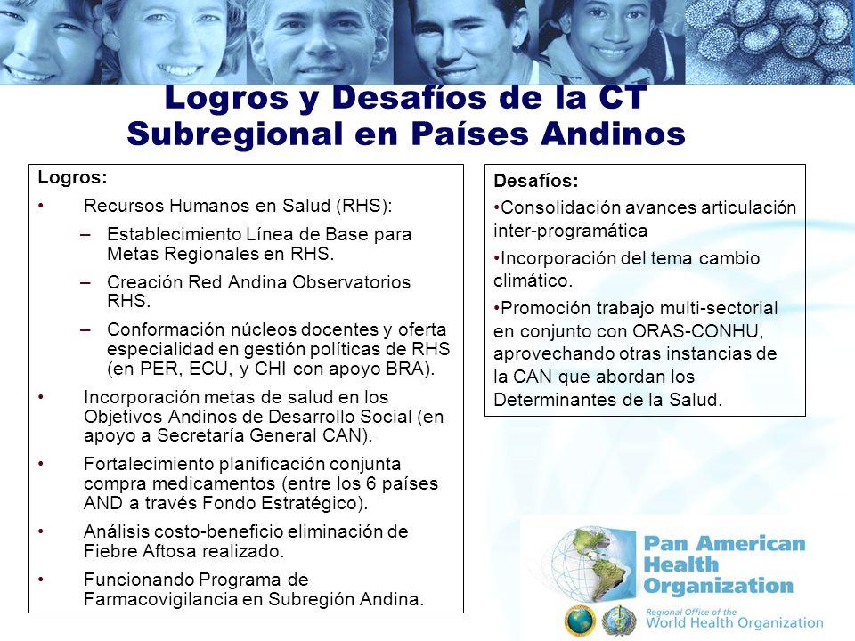 Logros: Recursos Humanos en Salud (RHS): –Establecimiento Línea de Base para Metas Regionales en RHS. –Creación Red Andina Observatorios RHS. –Conform
