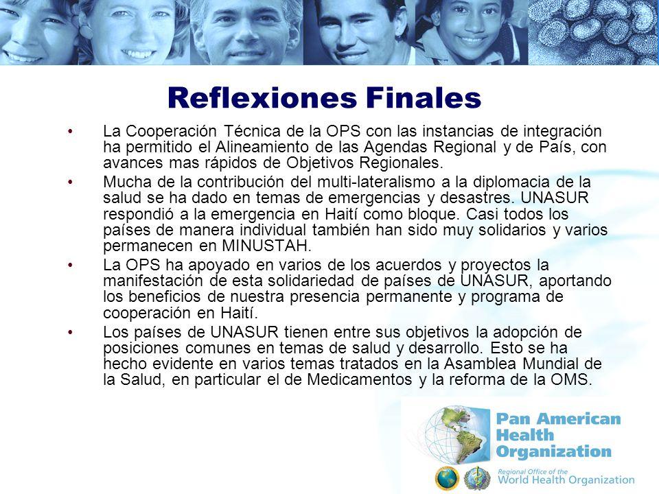 Reflexiones Finales La Cooperación Técnica de la OPS con las instancias de integración ha permitido el Alineamiento de las Agendas Regional y de País,