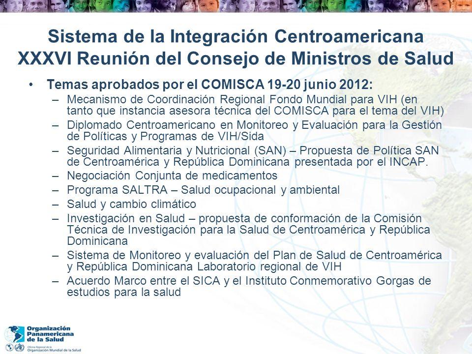 Sistema de la Integración Centroamericana XXXVI Reunión del Consejo de Ministros de Salud Temas aprobados por el COMISCA 19-20 junio 2012: –Mecanismo