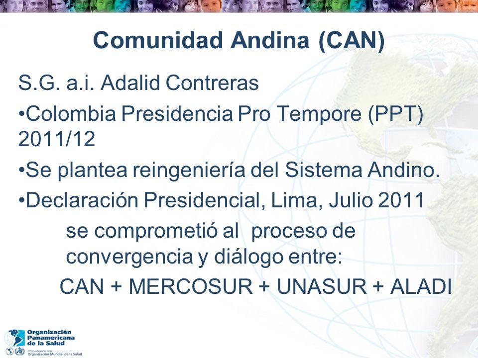 Comunidad Andina (CAN) S.G. a.i. Adalid Contreras Colombia Presidencia Pro Tempore (PPT) 2011/12 Se plantea reingeniería del Sistema Andino. Declaraci