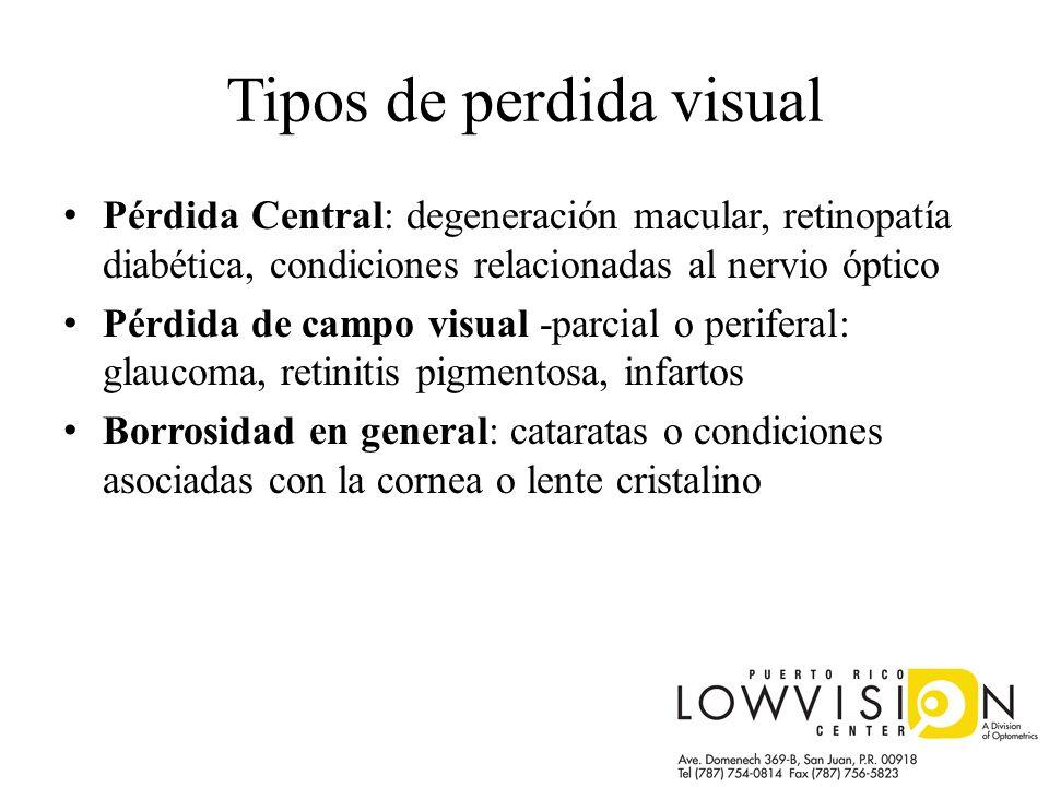 Tipos de perdida visual Pérdida Central: degeneración macular, retinopatía diabética, condiciones relacionadas al nervio óptico Pérdida de campo visua