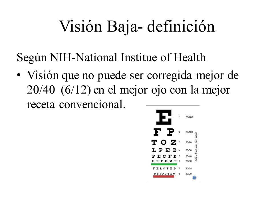 Visión Baja- definición Según NIH-National Institue of Health Visión que no puede ser corregida mejor de 20/40 (6/12) en el mejor ojo con la mejor rec