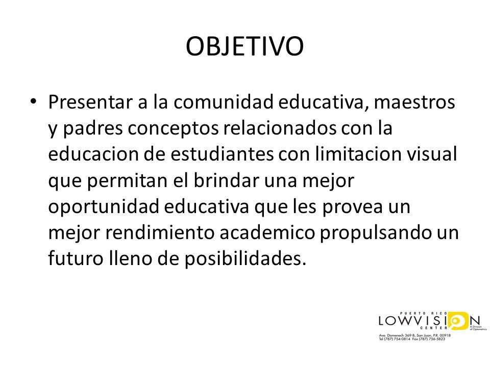 OBJETIVO Presentar a la comunidad educativa, maestros y padres conceptos relacionados con la educacion de estudiantes con limitacion visual que permit