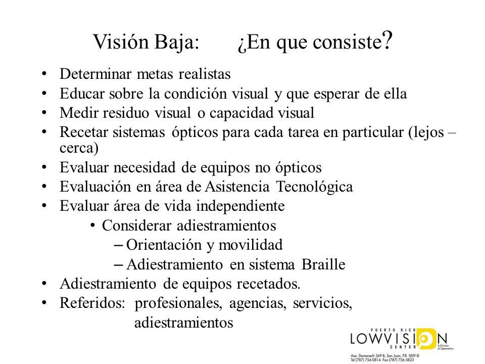 Visión Baja: ¿En que consiste ? Determinar metas realistas Educar sobre la condición visual y que esperar de ella Medir residuo visual o capacidad vis