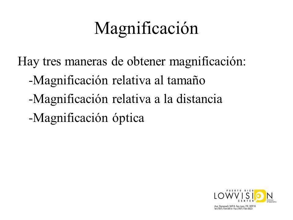 Magnificación Hay tres maneras de obtener magnificación: -Magnificación relativa al tamaño -Magnificación relativa a la distancia -Magnificación óptic