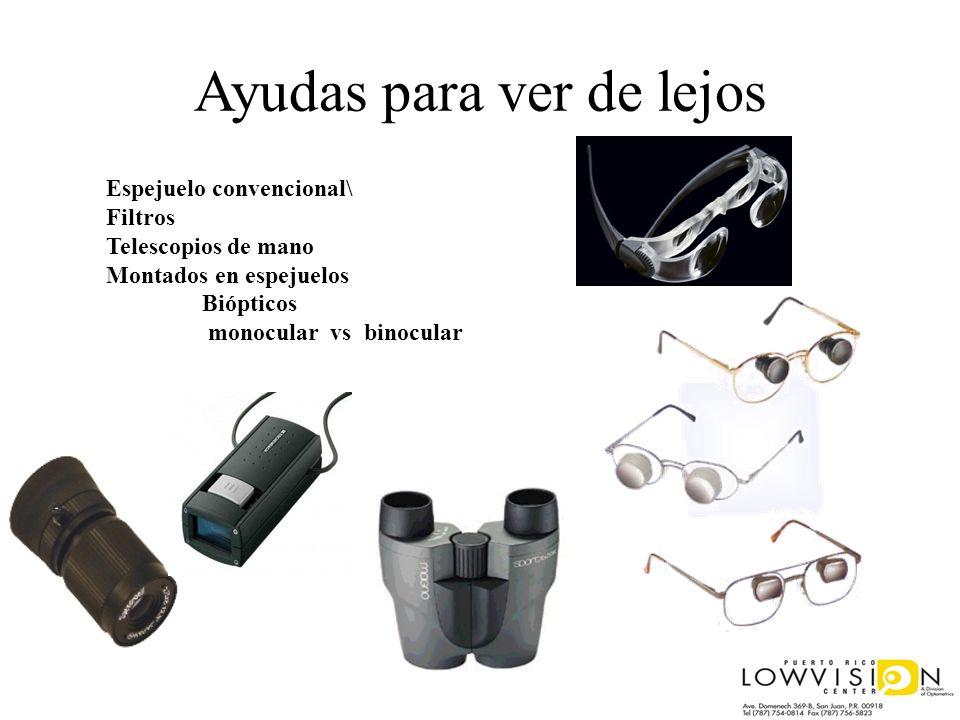 Ayudas para ver de lejos Espejuelo convencional\ Filtros Telescopios de mano Montados en espejuelos Biópticos monocular vs binocular