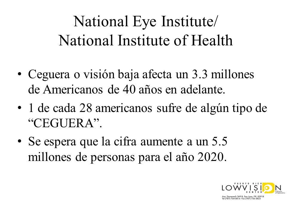 National Eye Institute/ National Institute of Health Ceguera o visión baja afecta un 3.3 millones de Americanos de 40 años en adelante. 1 de cada 28 a