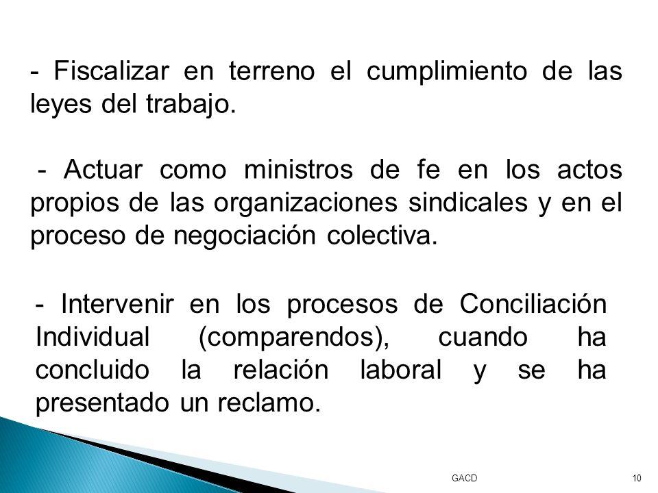 GACD10 - Fiscalizar en terreno el cumplimiento de las leyes del trabajo.