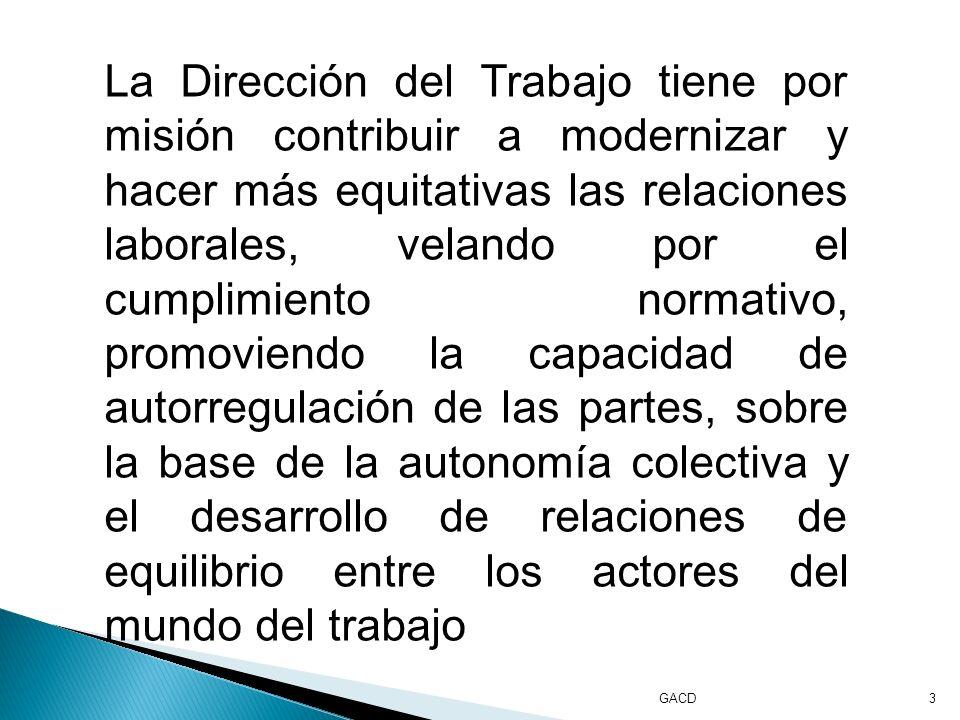 GACD3 La Dirección del Trabajo tiene por misión contribuir a modernizar y hacer más equitativas las relaciones laborales, velando por el cumplimiento normativo, promoviendo la capacidad de autorregulación de las partes, sobre la base de la autonomía colectiva y el desarrollo de relaciones de equilibrio entre los actores del mundo del trabajo