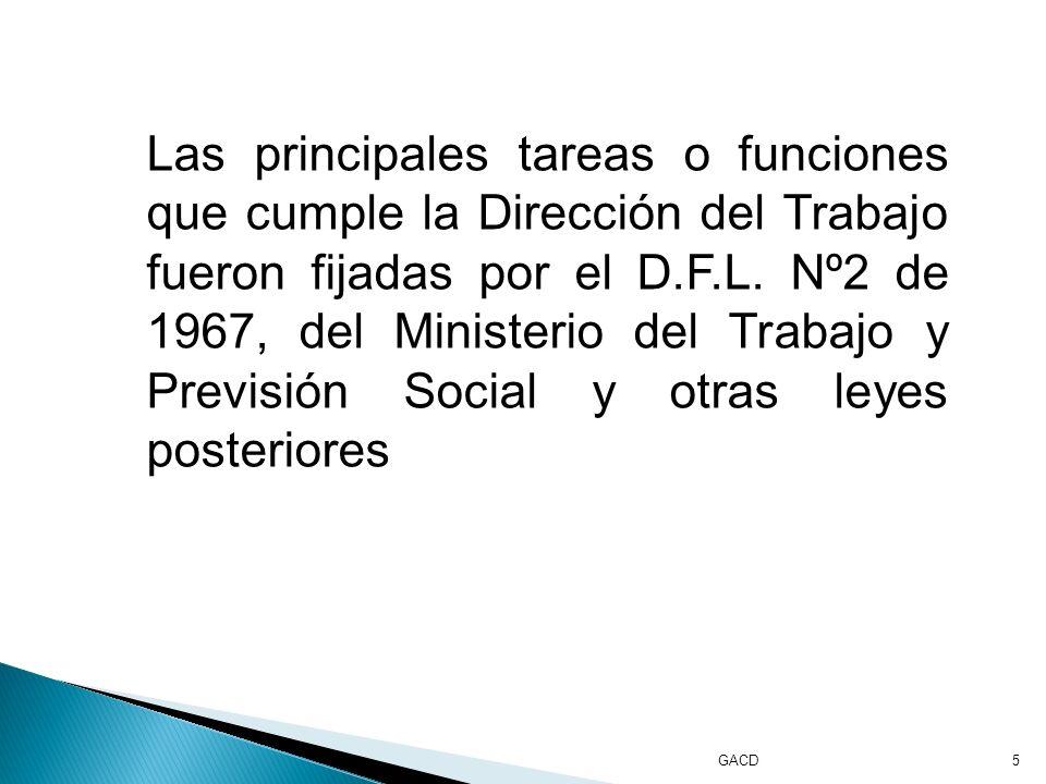 GACD5 Las principales tareas o funciones que cumple la Dirección del Trabajo fueron fijadas por el D.F.L.