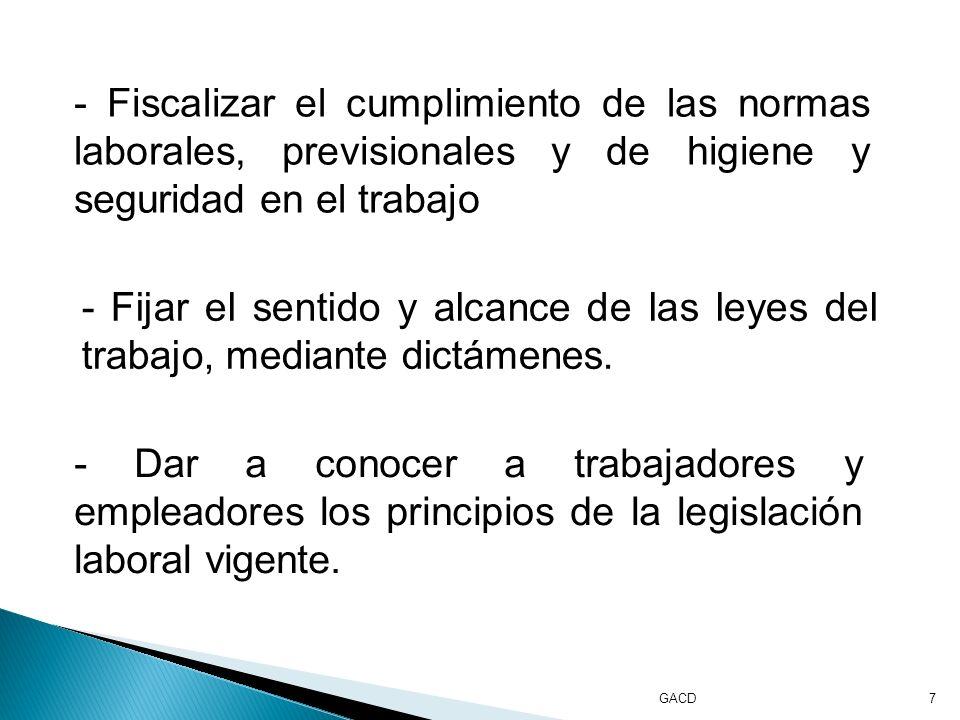 7 - Fiscalizar el cumplimiento de las normas laborales, previsionales y de higiene y seguridad en el trabajo - Fijar el sentido y alcance de las leyes del trabajo, mediante dictámenes.