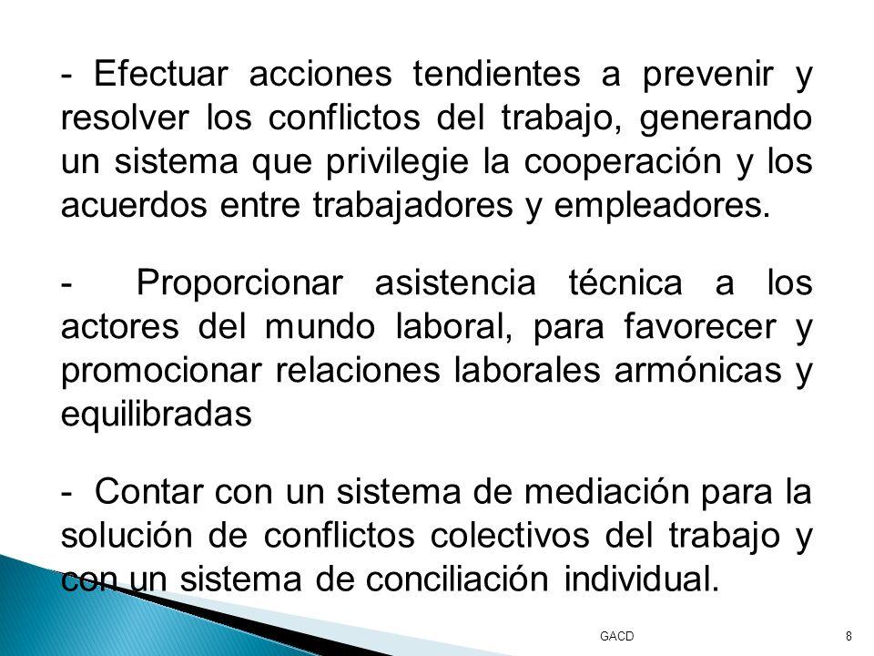GACD8 - Efectuar acciones tendientes a prevenir y resolver los conflictos del trabajo, generando un sistema que privilegie la cooperación y los acuerdos entre trabajadores y empleadores.