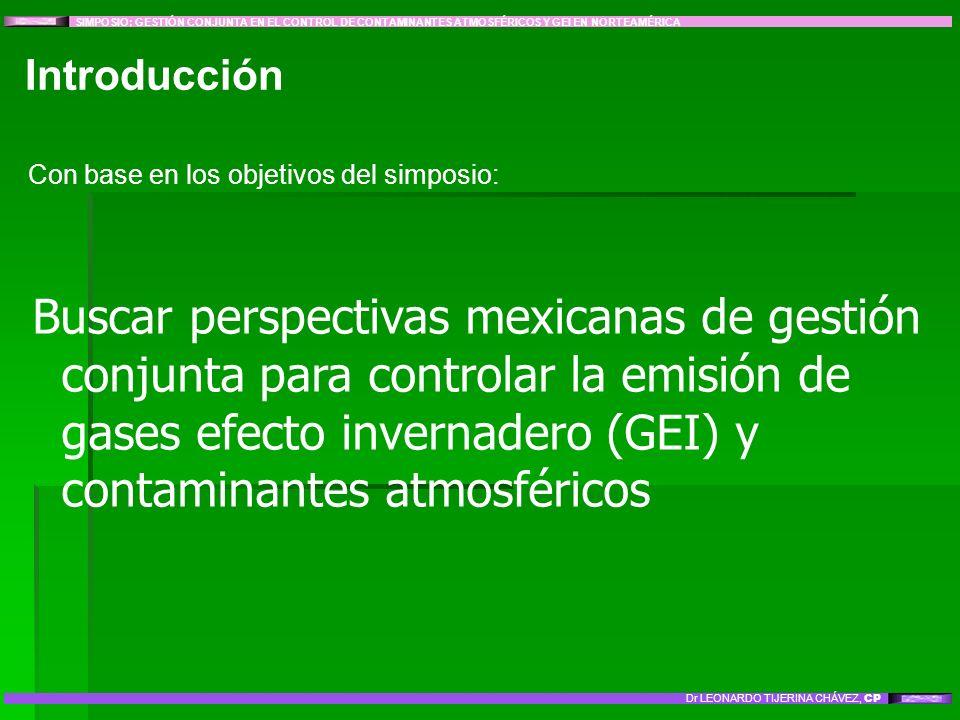 Introducción Con base en los objetivos del simposio: Buscar perspectivas mexicanas de gestión conjunta para controlar la emisión de gases efecto inver