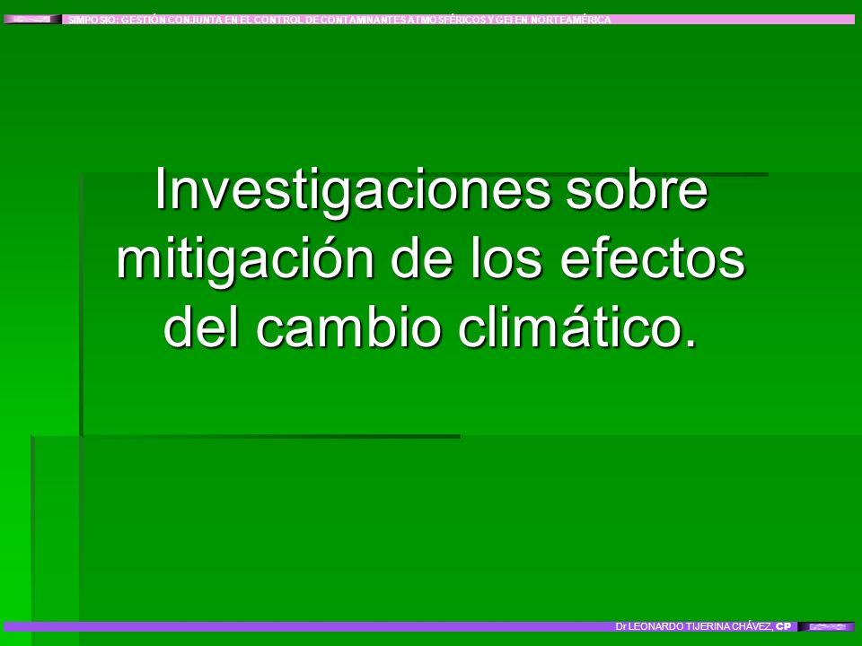 Investigaciones sobre mitigación de los efectos del cambio climático. SIMPOSIO: GESTIÓN CONJUNTA EN EL CONTROL DE CONTAMINANTES ATMOSFÉRICOS Y GEI EN