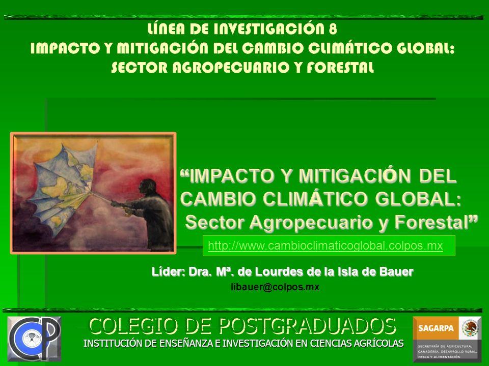 LÍNEA DE INVESTIGACIÓN 8 IMPACTO Y MITIGACIÓN DEL CAMBIO CLIMÁTICO GLOBAL: SECTOR AGROPECUARIO Y FORESTAL COLEGIO DE POSTGRADUADOS INSTITUCIÓN DE ENSE