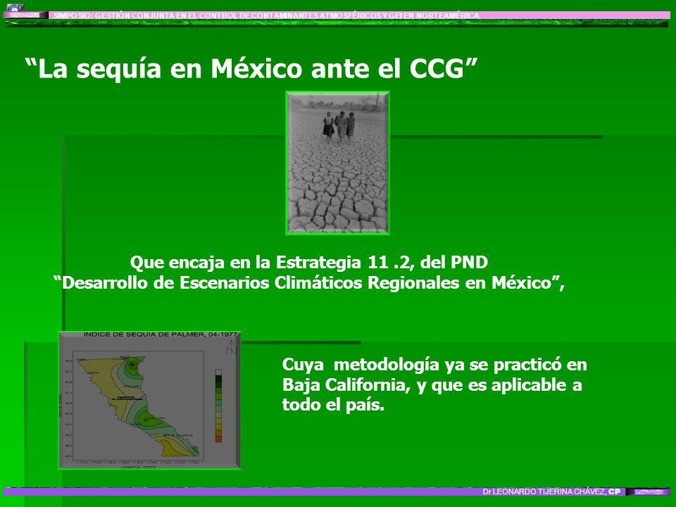 LÍNEA DE INVESTIGACIÓN 8: IMPACTO Y MITIGACIÓN DEL CAMBIO CLIMÁTICO GLOBAL: Sector Agropecuario y Forestal La sequía en México ante el CCG Que encaja