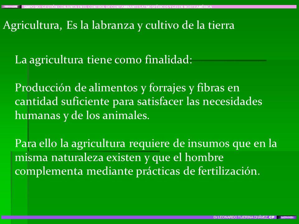Agricultura, Es la labranza y cultivo de la tierra La agricultura tiene como finalidad: Producción de alimentos y forrajes y fibras en cantidad sufici