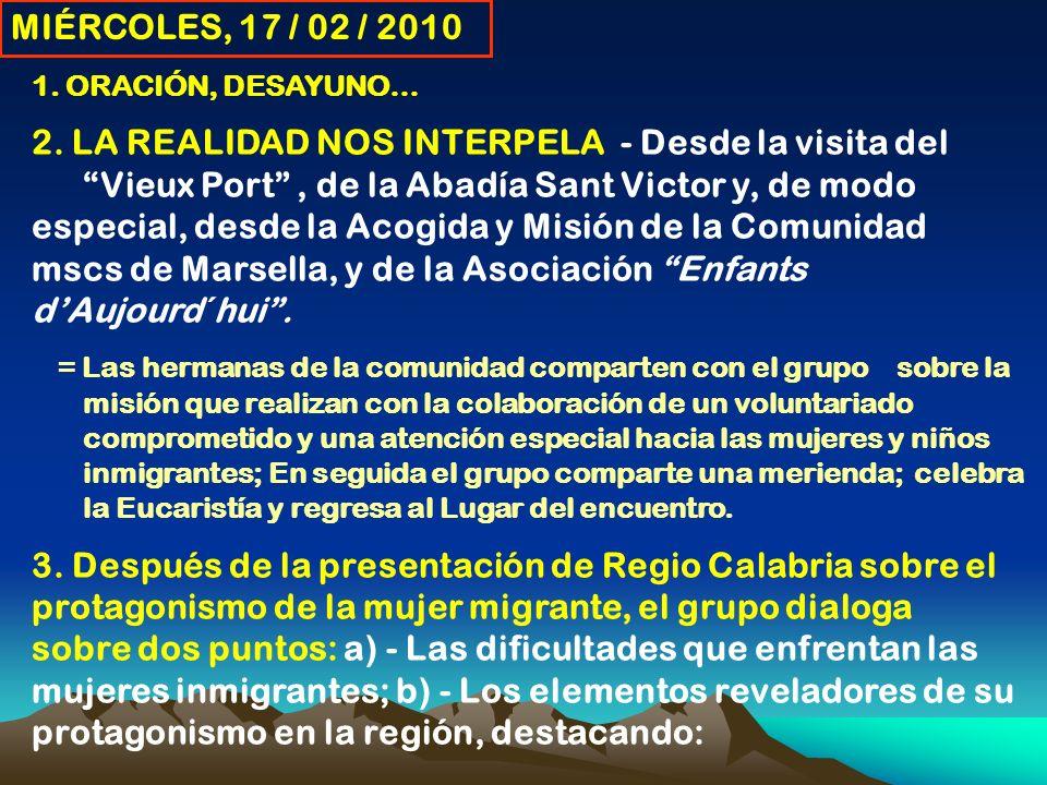MIÉRCOLES, 17 / 02 / 2010 1. ORACIÓN, DESAYUNO… 2.