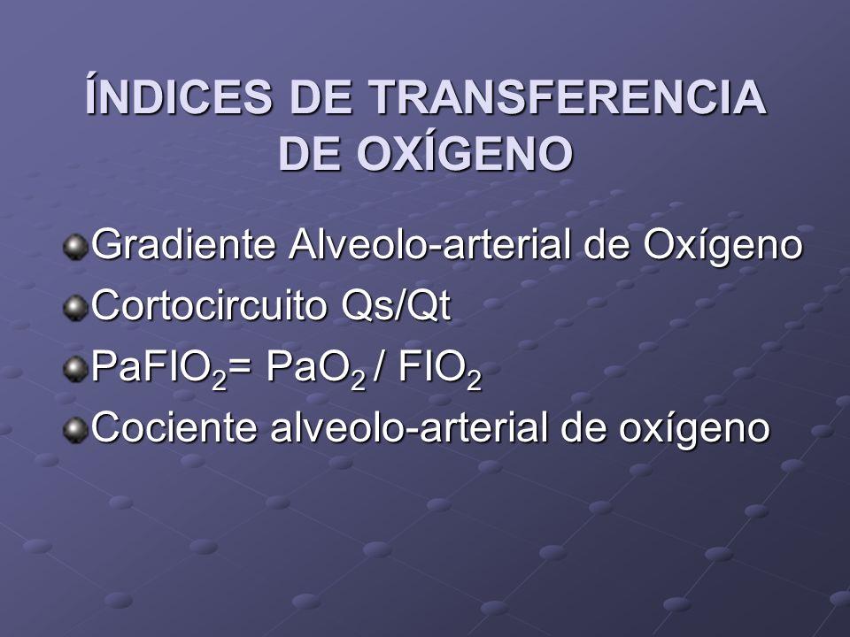 ÍNDICES DE TRANSFERENCIA DE OXÍGENO Gradiente Alveolo-arterial de Oxígeno Cortocircuito Qs/Qt PaFIO 2 = PaO 2 / FIO 2 Cociente alveolo-arterial de oxí