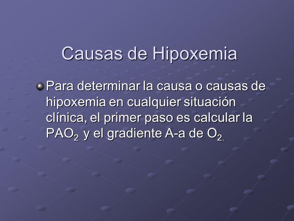 Causas de Hipoxemia Causas de Hipoxemia Para determinar la causa o causas de hipoxemia en cualquier situación clínica, el primer paso es calcular la P