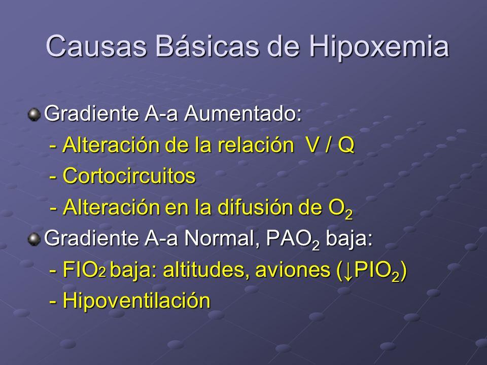 Causas Básicas de Hipoxemia Causas Básicas de Hipoxemia Gradiente A-a Aumentado: - Alteración de la relación V / Q - Alteración de la relación V / Q -