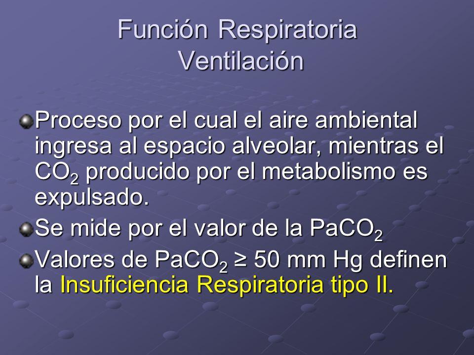 Función Respiratoria Ventilación Proceso por el cual el aire ambiental ingresa al espacio alveolar, mientras el CO 2 producido por el metabolismo es e