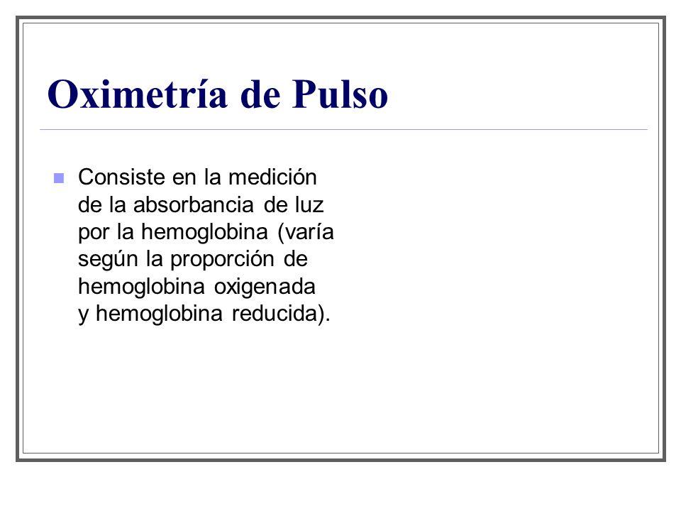 Oximetría de Pulso Consiste en la medición de la absorbancia de luz por la hemoglobina (varía según la proporción de hemoglobina oxigenada y hemoglobi