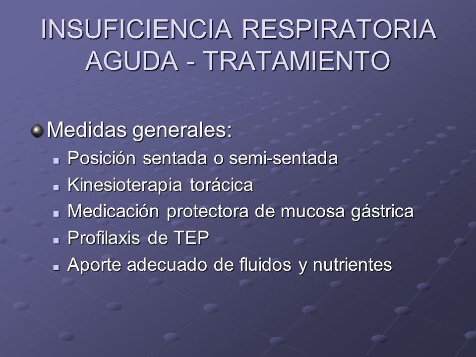 INSUFICIENCIA RESPIRATORIA AGUDA - TRATAMIENTO Medidas generales: Posición sentada o semi-sentada Posición sentada o semi-sentada Kinesioterapia torác
