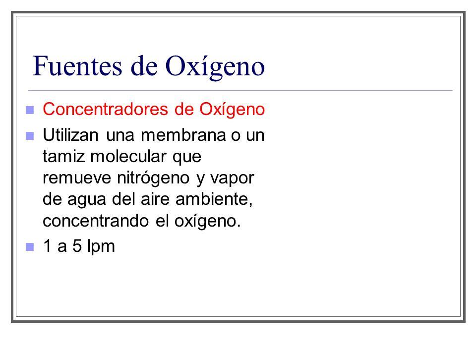Fuentes de Oxígeno Concentradores de Oxígeno Utilizan una membrana o un tamiz molecular que remueve nitrógeno y vapor de agua del aire ambiente, conce